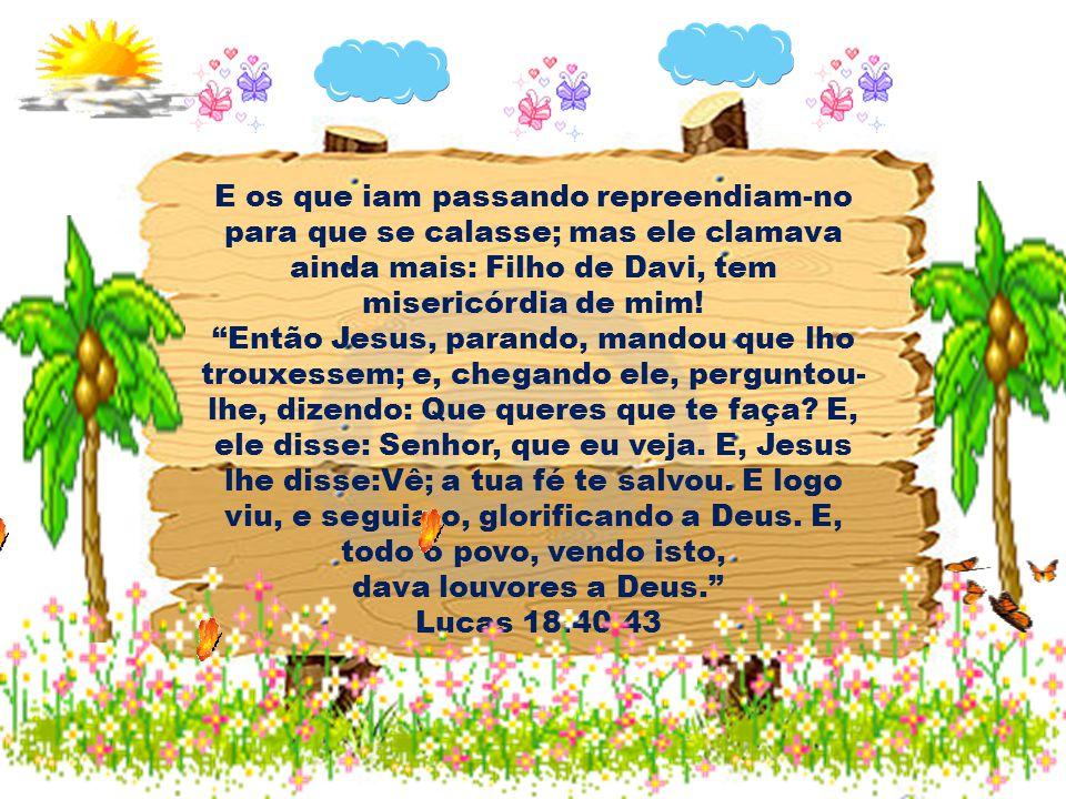 E os que iam passando repreendiam-no para que se calasse; mas ele clamava ainda mais: Filho de Davi, tem misericórdia de mim!