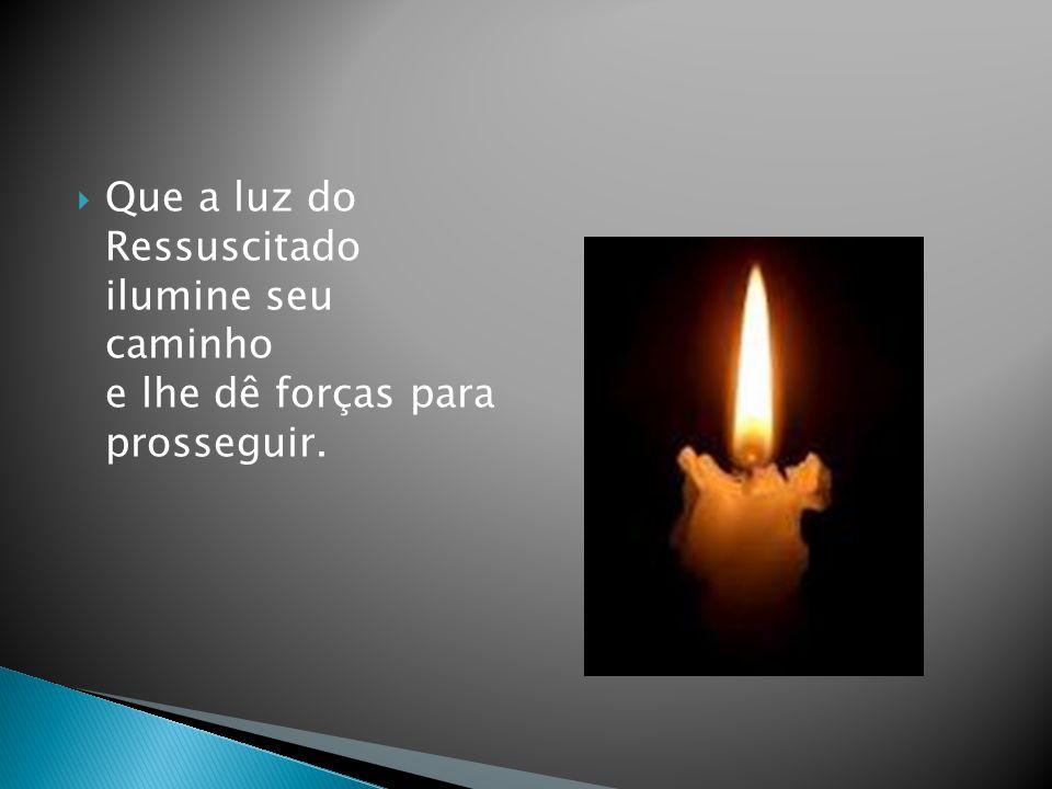 Que a luz do Ressuscitado ilumine seu caminho e lhe dê forças para prosseguir.