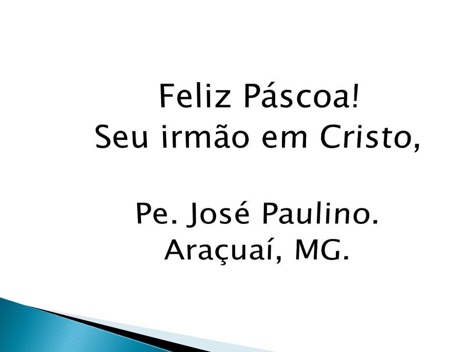 Feliz Páscoa! Seu irmão em Cristo, Pe. José Paulino. Araçuaí, MG.