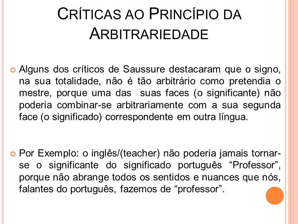 Críticas ao Princípio da Arbitrariedade