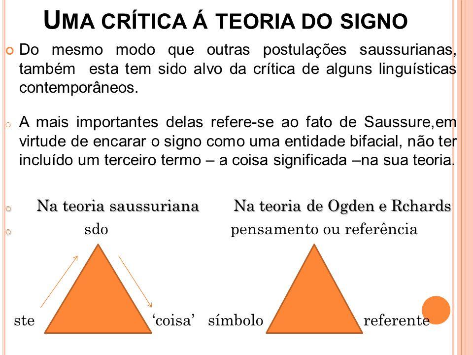 Uma crítica á teoria do signo