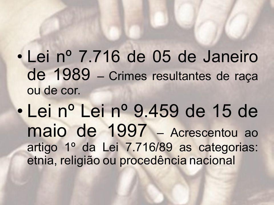 Lei nº 7.716 de 05 de Janeiro de 1989 – Crimes resultantes de raça ou de cor.