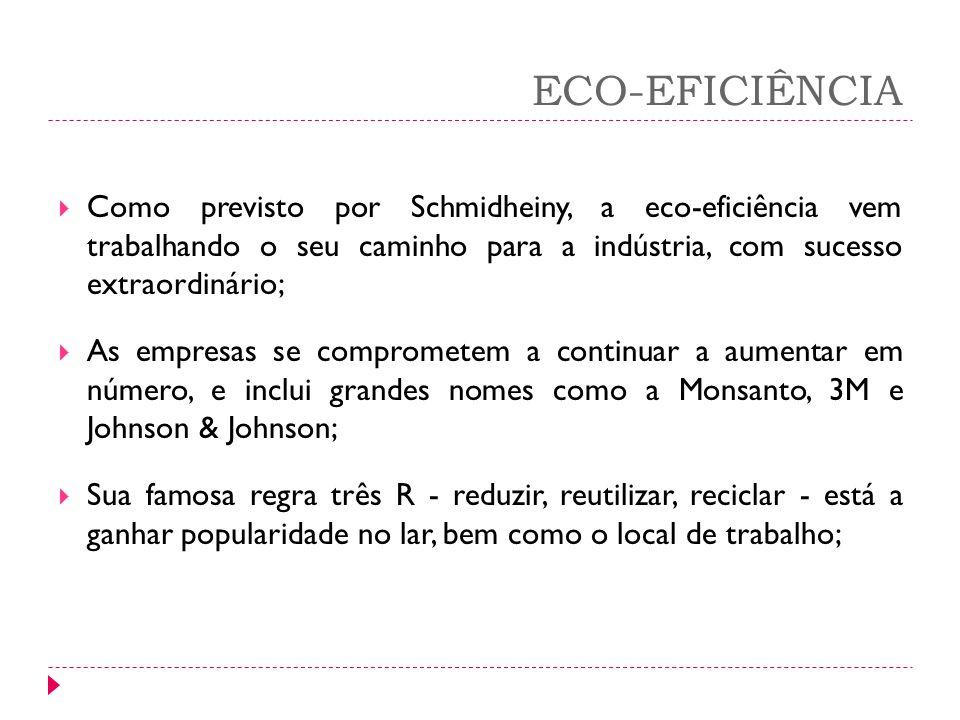 ECO-EFICIÊNCIA Como previsto por Schmidheiny, a eco-eficiência vem trabalhando o seu caminho para a indústria, com sucesso extraordinário;