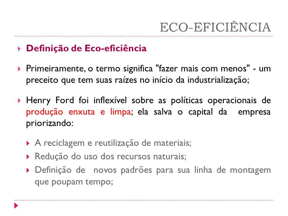 ECO-EFICIÊNCIA Definição de Eco-eficiência