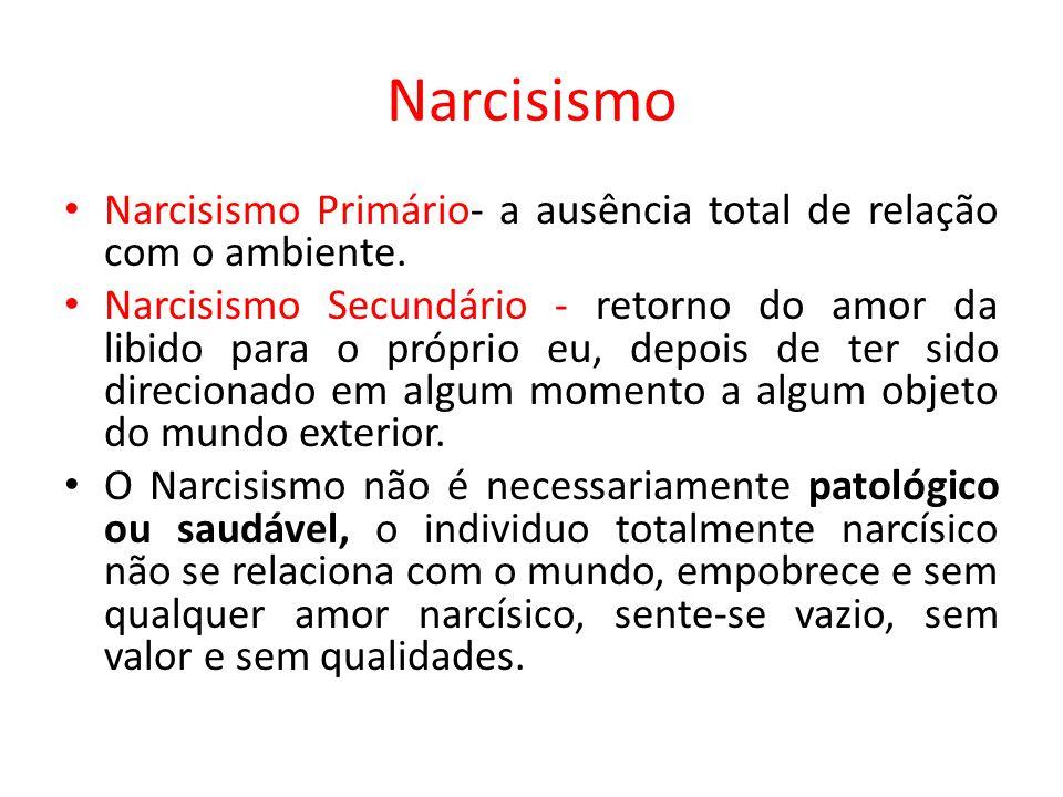 Narcisismo Narcisismo Primário- a ausência total de relação com o ambiente.