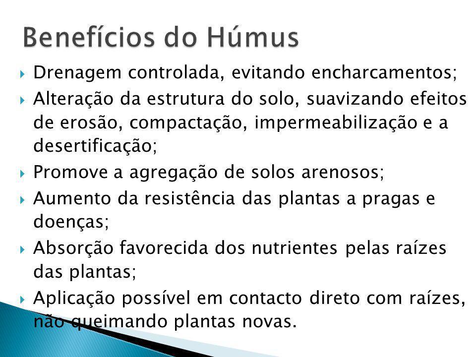 Benefícios do Húmus Drenagem controlada, evitando encharcamentos;