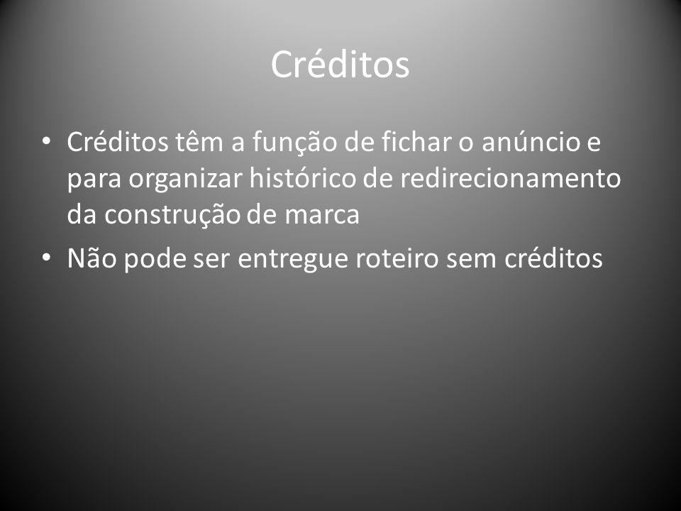 Créditos Créditos têm a função de fichar o anúncio e para organizar histórico de redirecionamento da construção de marca.