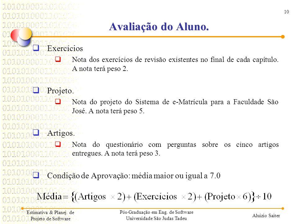 Avaliação do Aluno. Exercícios Projeto. Artigos.