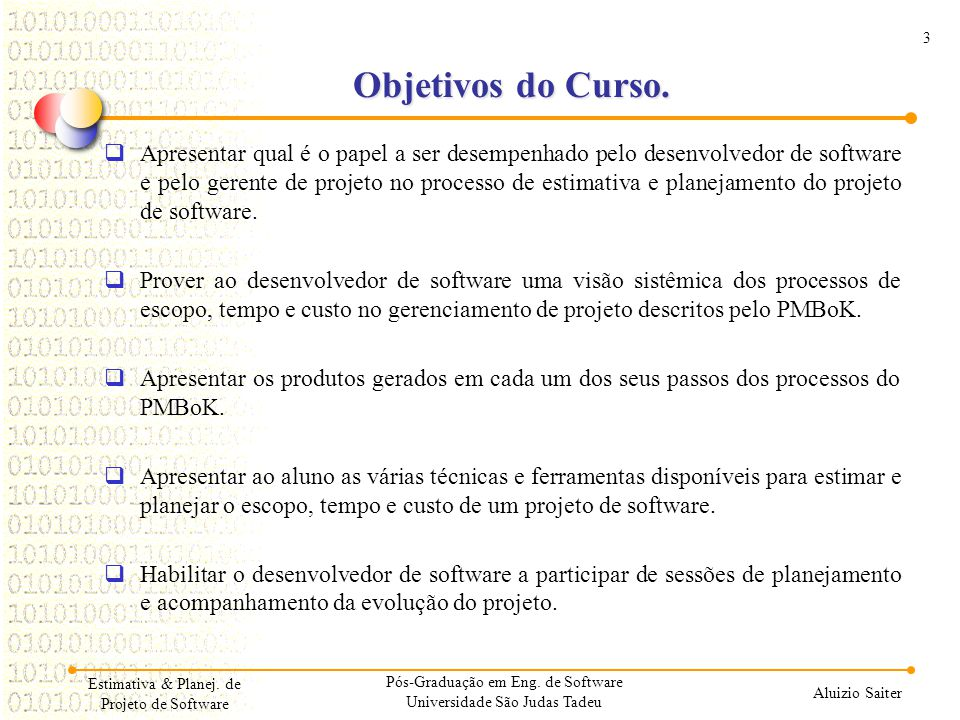01/04/2017 Objetivos do Curso.