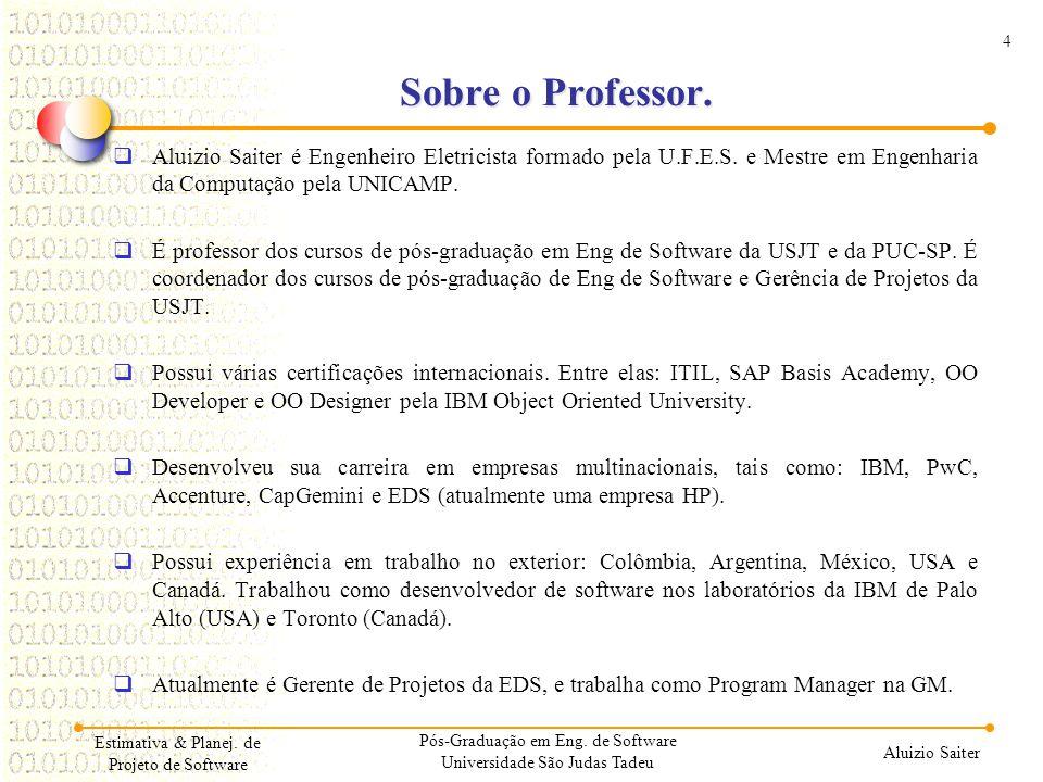 01/04/2017 Sobre o Professor. Aluizio Saiter é Engenheiro Eletricista formado pela U.F.E.S. e Mestre em Engenharia da Computação pela UNICAMP.
