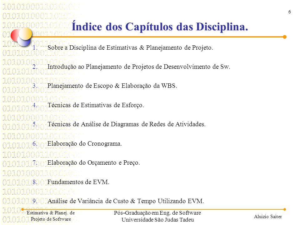 Índice dos Capítulos das Disciplina.