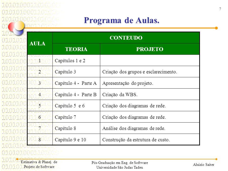 Programa de Aulas. AULA CONTEUDO TEORIA PROJETO 1 Capítulos 1 e 2 2