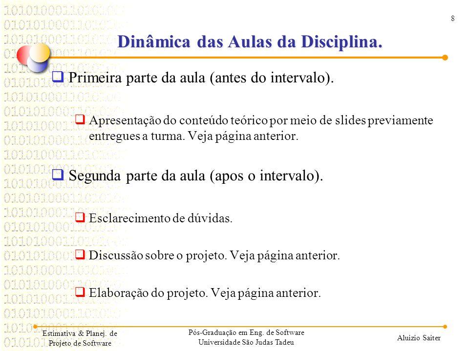 Dinâmica das Aulas da Disciplina.