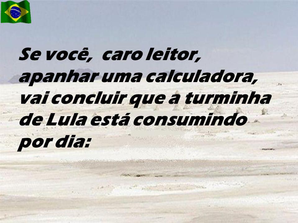 Se você, caro leitor, apanhar uma calculadora, vai concluir que a turminha de Lula está consumindo por dia: