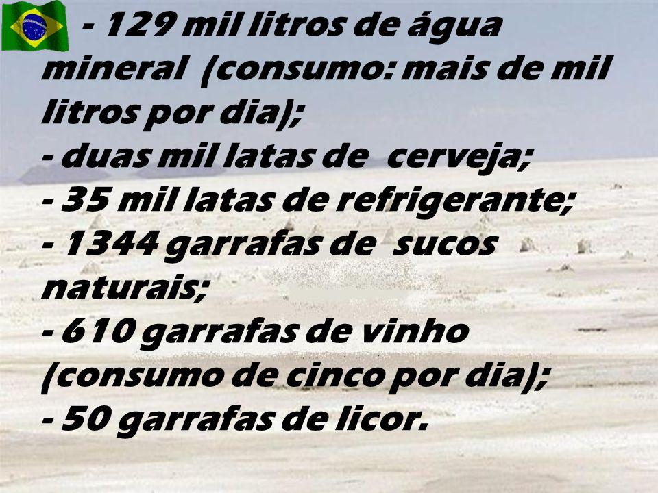 - 129 mil litros de água mineral (consumo: mais de mil litros por dia); - duas mil latas de cerveja; - 35 mil latas de refrigerante; - 1344 garrafas de sucos naturais; - 610 garrafas de vinho (consumo de cinco por dia); - 50 garrafas de licor.