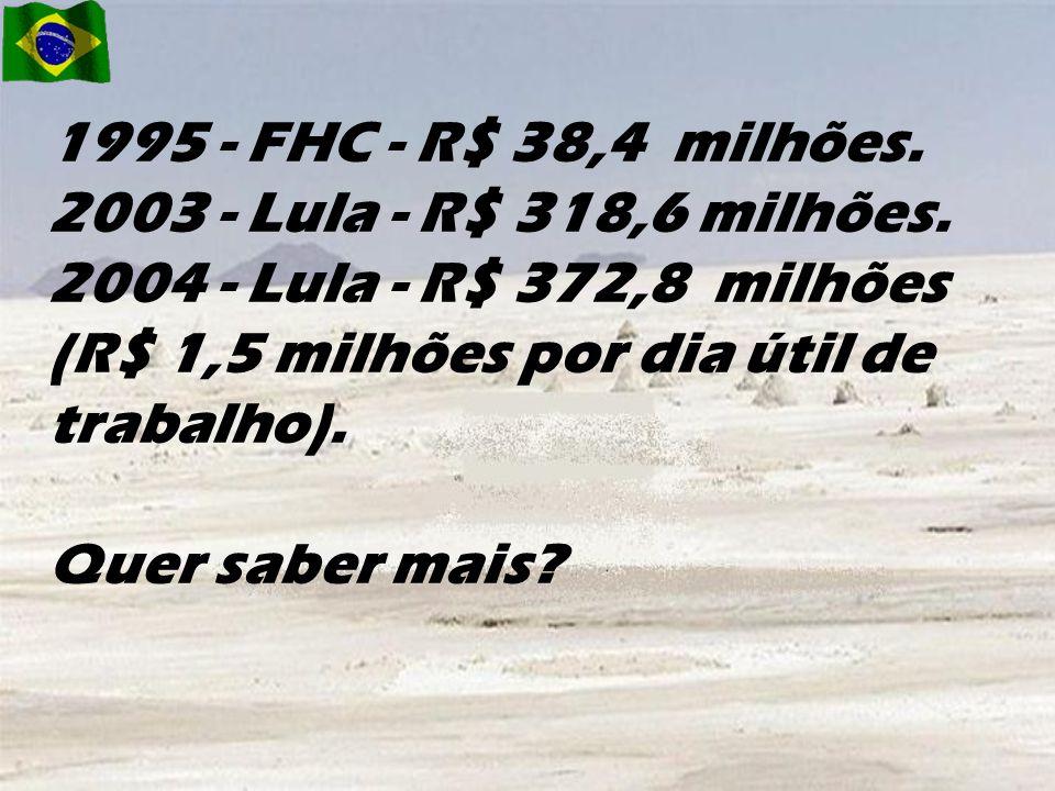 1995 - FHC - R$ 38,4 milhões. 2003 - Lula - R$ 318,6 milhões