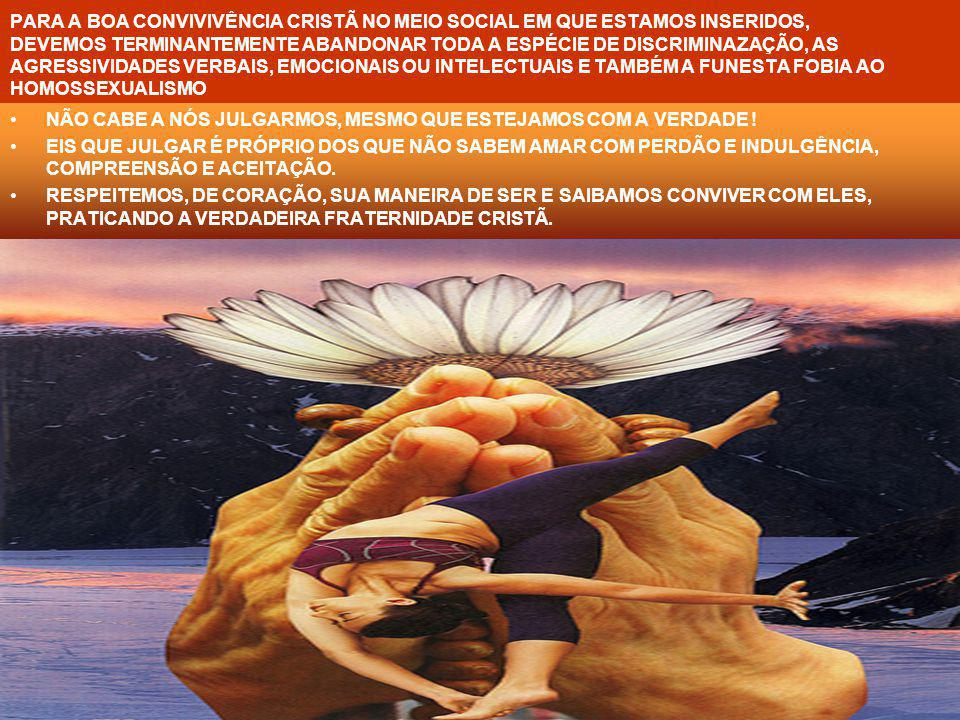 PARA A BOA CONVIVIVÊNCIA CRISTÃ NO MEIO SOCIAL EM QUE ESTAMOS INSERIDOS, DEVEMOS TERMINANTEMENTE ABANDONAR TODA A ESPÉCIE DE DISCRIMINAZAÇÃO, AS AGRESSIVIDADES VERBAIS, EMOCIONAIS OU INTELECTUAIS E TAMBÉM A FUNESTA FOBIA AO HOMOSSEXUALISMO