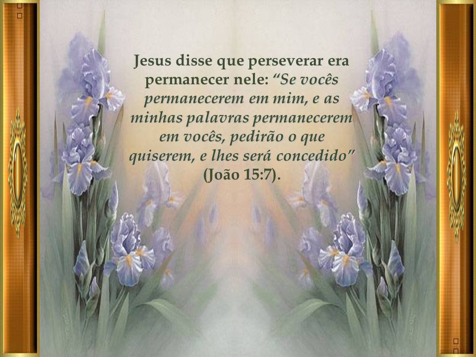 Jesus disse que perseverar era permanecer nele: Se vocês permanecerem em mim, e as minhas palavras permanecerem em vocês, pedirão o que quiserem, e lhes será concedido (João 15:7).