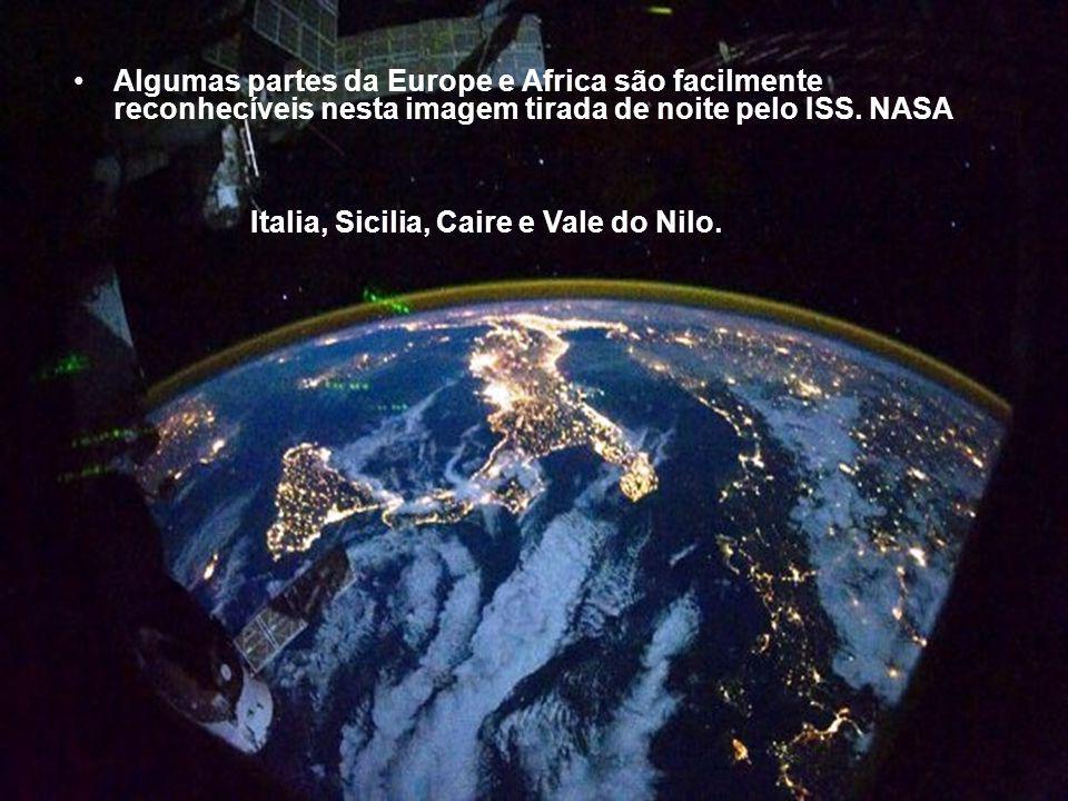 Algumas partes da Europe e Africa são facilmente reconhecíveis nesta imagem tirada de noite pelo ISS. NASA