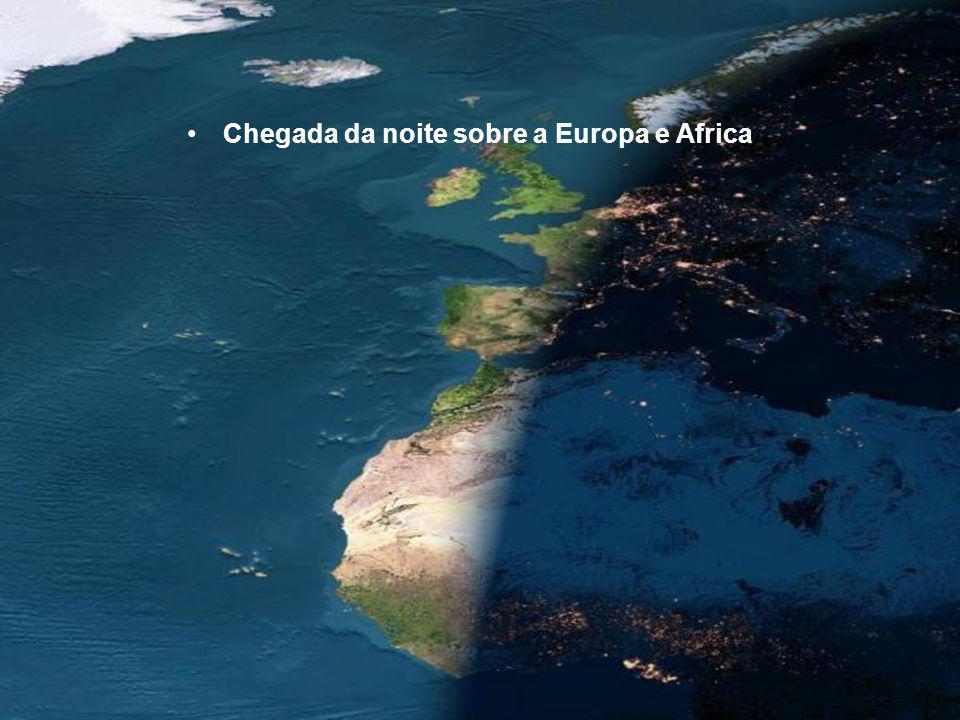Chegada da noite sobre a Europa e Africa
