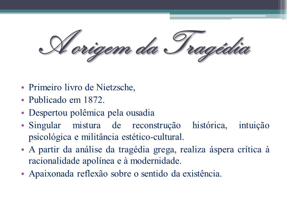 A origem da Tragédia Primeiro livro de Nietzsche, Publicado em 1872.