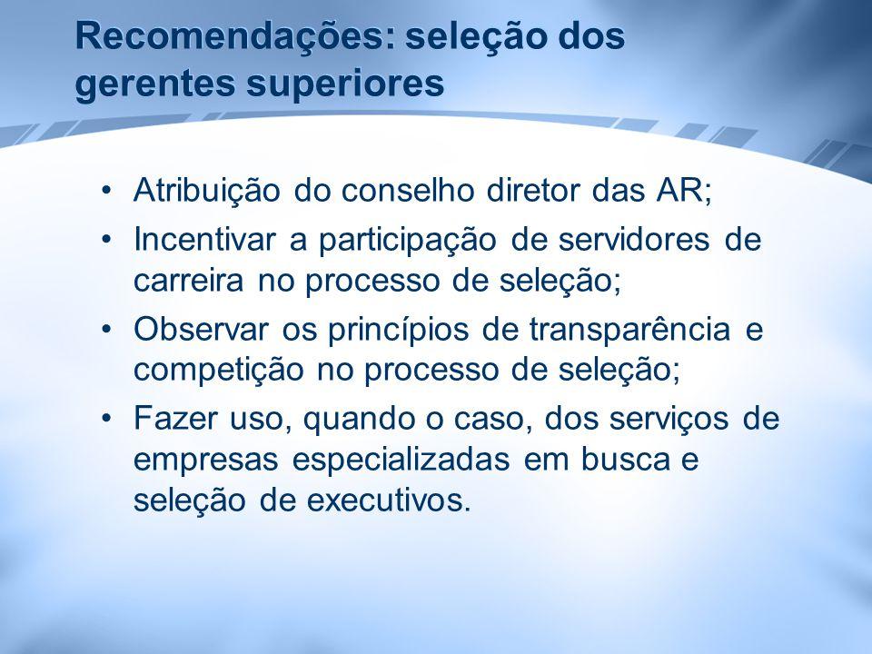 Recomendações: seleção dos gerentes superiores