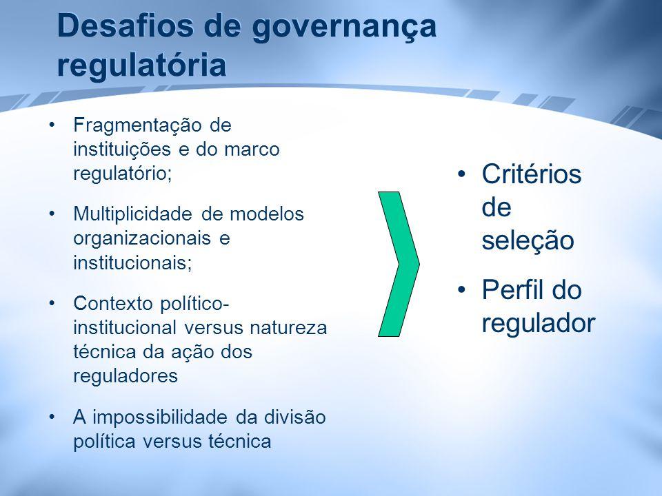 Desafios de governança regulatória