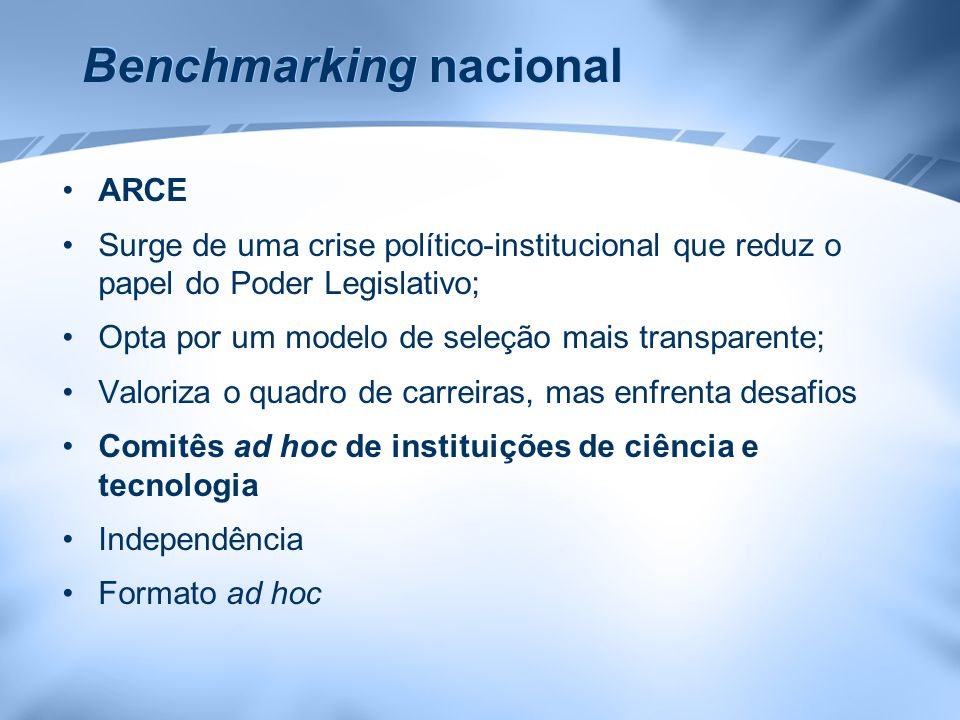 Benchmarking nacional