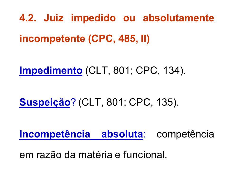 4.2. Juiz impedido ou absolutamente incompetente (CPC, 485, II)