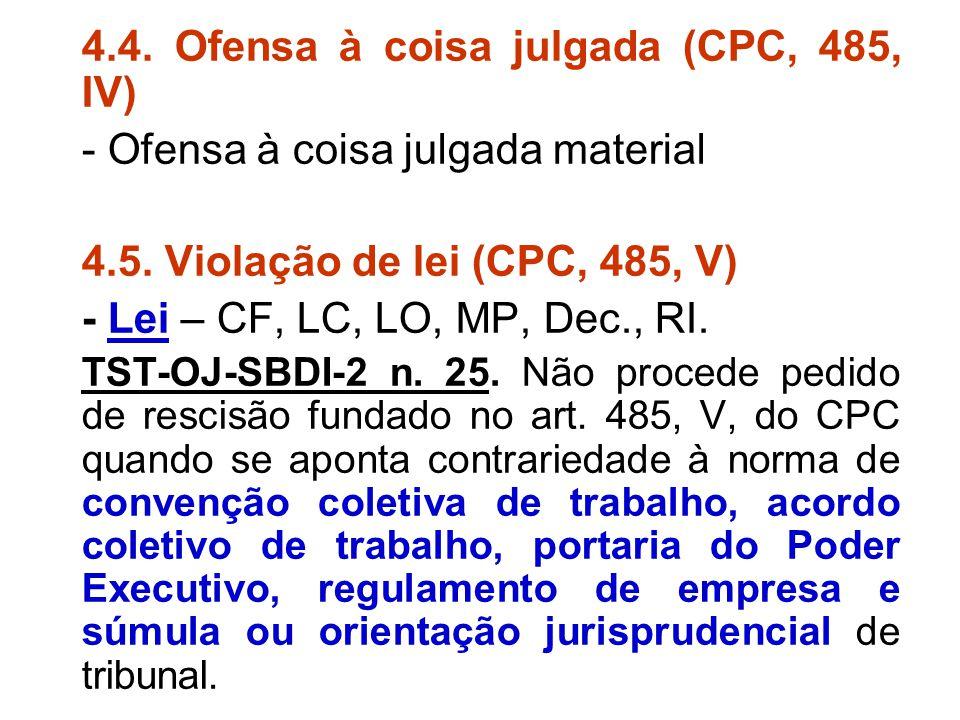 4.4. Ofensa à coisa julgada (CPC, 485, IV)