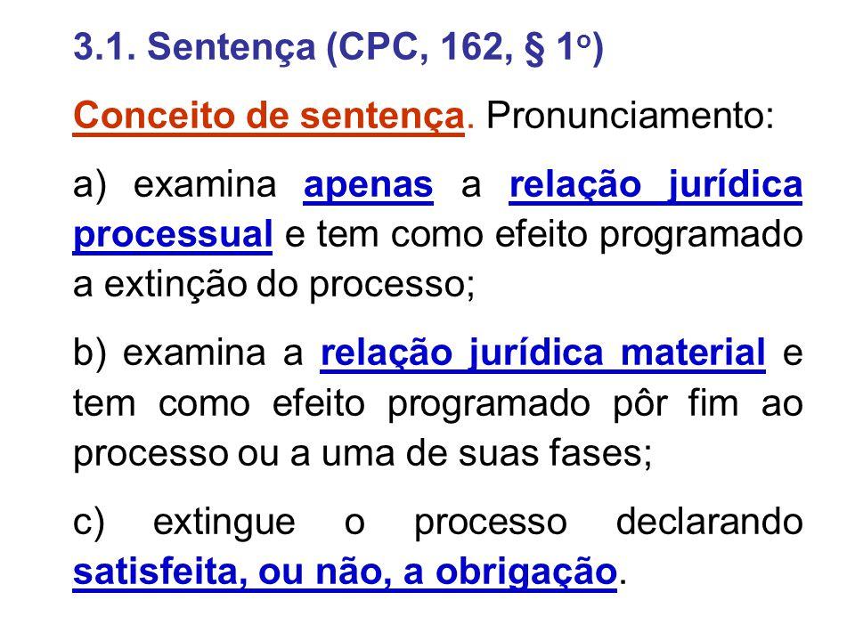 3.1. Sentença (CPC, 162, § 1o) Conceito de sentença. Pronunciamento:
