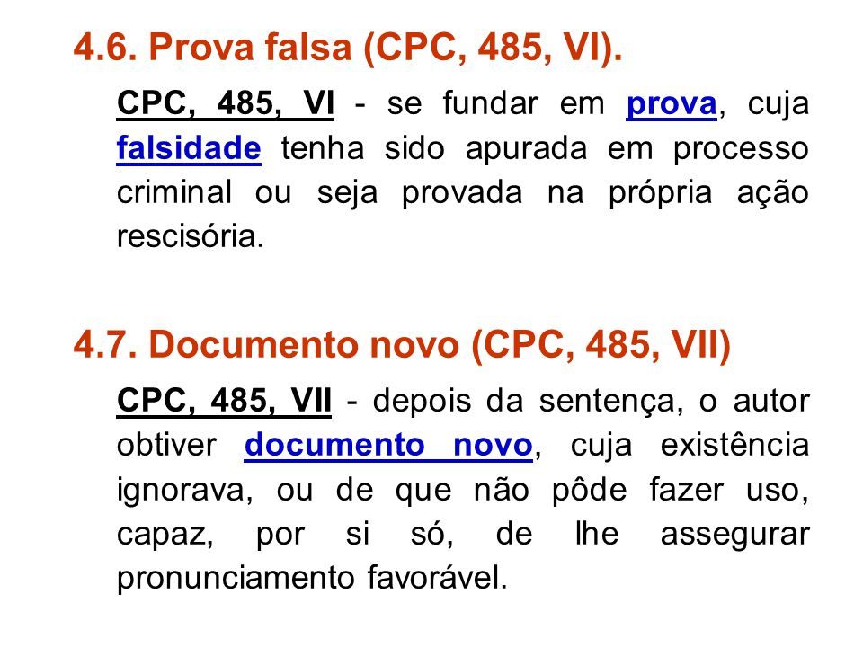 4.7. Documento novo (CPC, 485, VII)