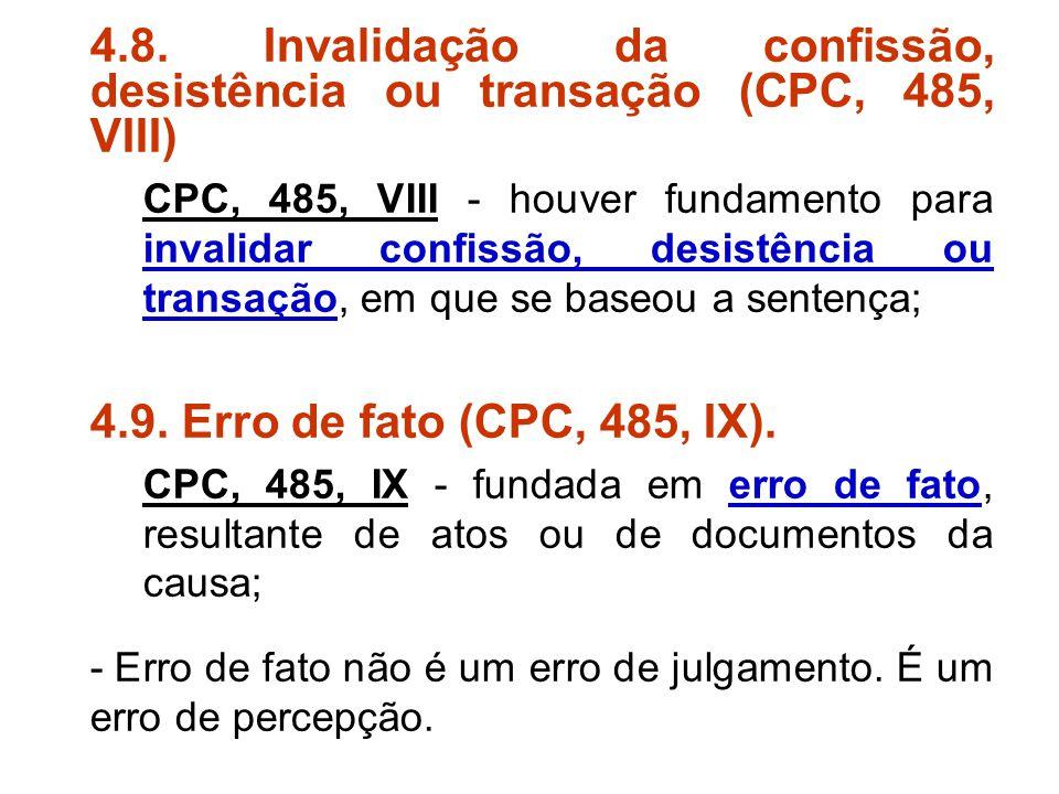 4.8. Invalidação da confissão, desistência ou transação (CPC, 485, VIII)