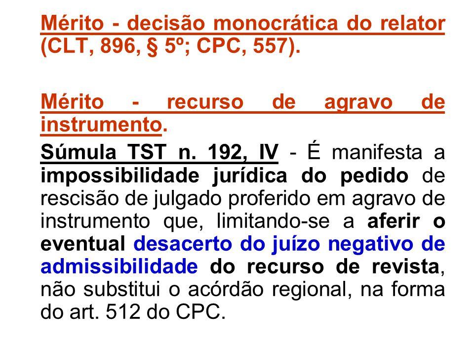Mérito - decisão monocrática do relator (CLT, 896, § 5º; CPC, 557).
