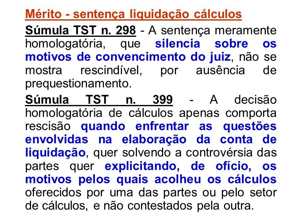 Mérito - sentença liquidação cálculos
