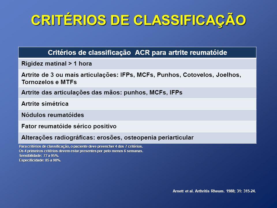 CRITÉRIOS DE CLASSIFICAÇÃO