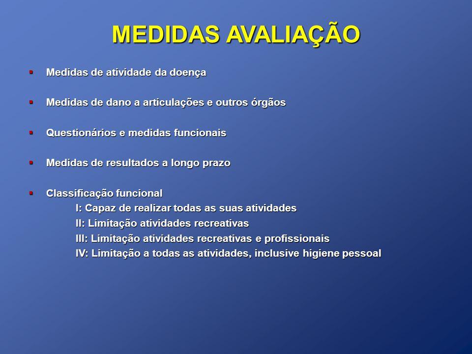 MEDIDAS AVALIAÇÃO Medidas de atividade da doença