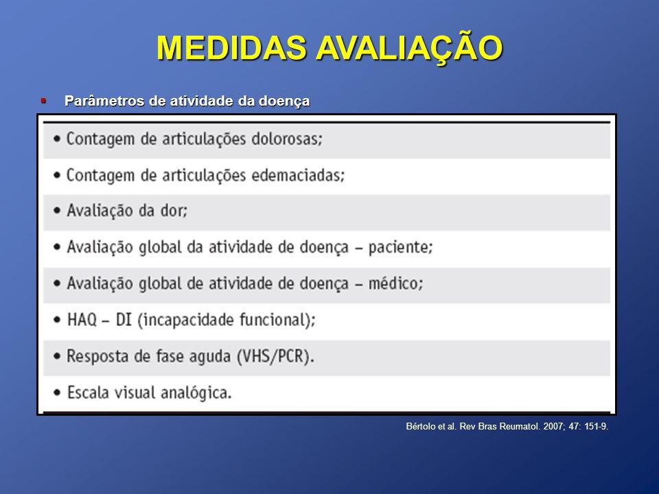 MEDIDAS AVALIAÇÃO Parâmetros de atividade da doença