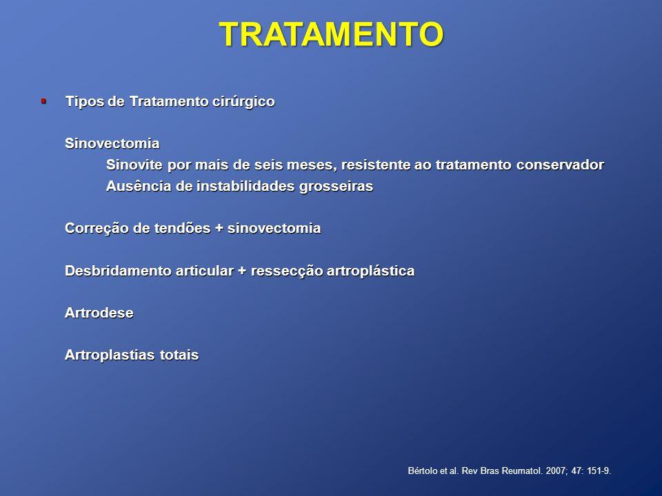 TRATAMENTO Tipos de Tratamento cirúrgico Sinovectomia