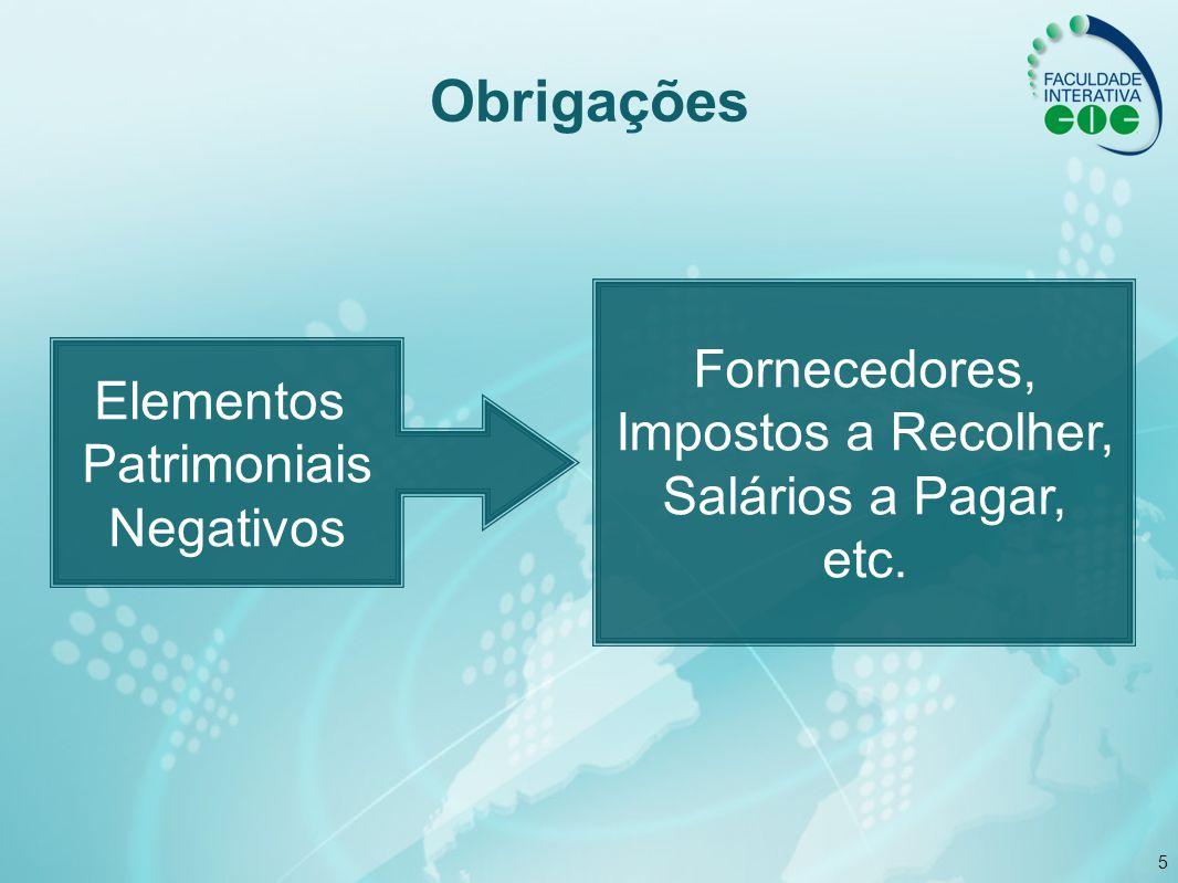 Obrigações Fornecedores, Impostos a Recolher, Elementos