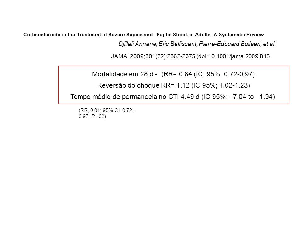Mortalidade em 28 d - (RR= 0.84 (IC 95%, 0.72-0.97)