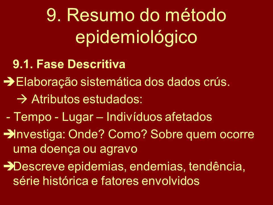 9. Resumo do método epidemiológico