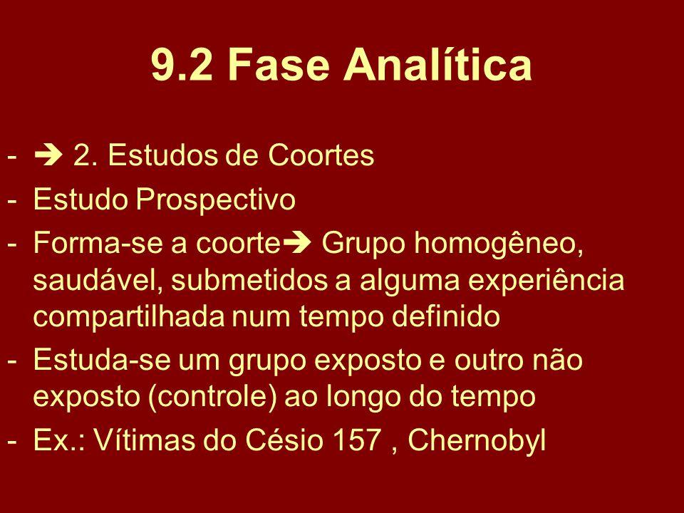 9.2 Fase Analítica  2. Estudos de Coortes Estudo Prospectivo