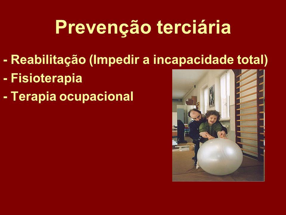 Prevenção terciária - Reabilitação (Impedir a incapacidade total)
