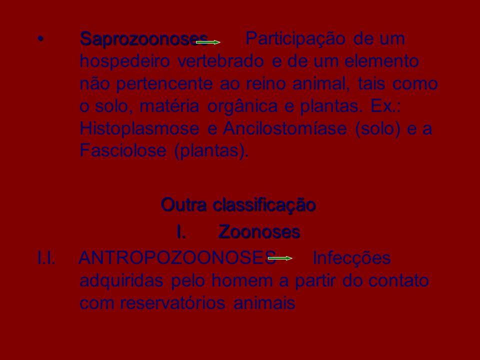 Saprozoonoses Participação de um hospedeiro vertebrado e de um elemento não pertencente ao reino animal, tais como o solo, matéria orgânica e plantas. Ex.: Histoplasmose e Ancilostomíase (solo) e a Fasciolose (plantas).