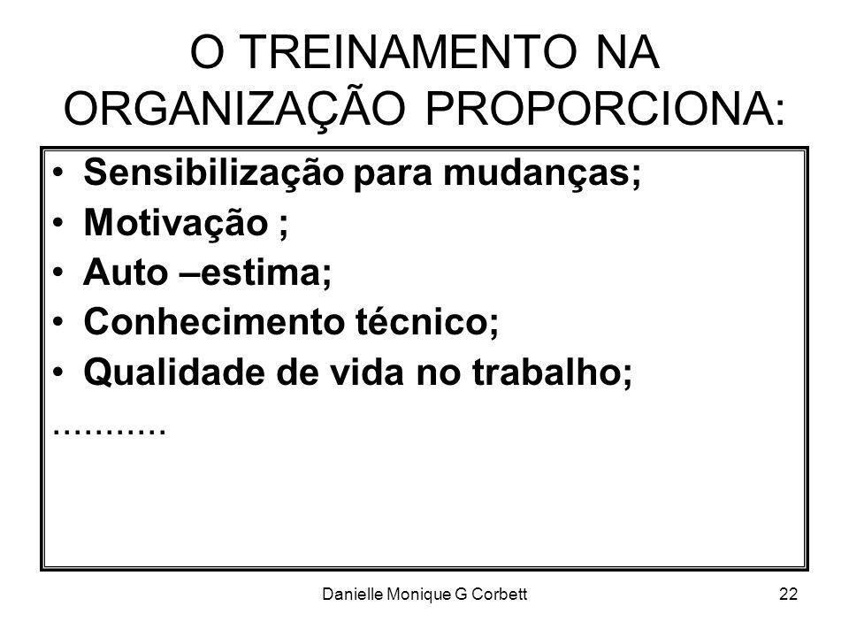 O TREINAMENTO NA ORGANIZAÇÃO PROPORCIONA: