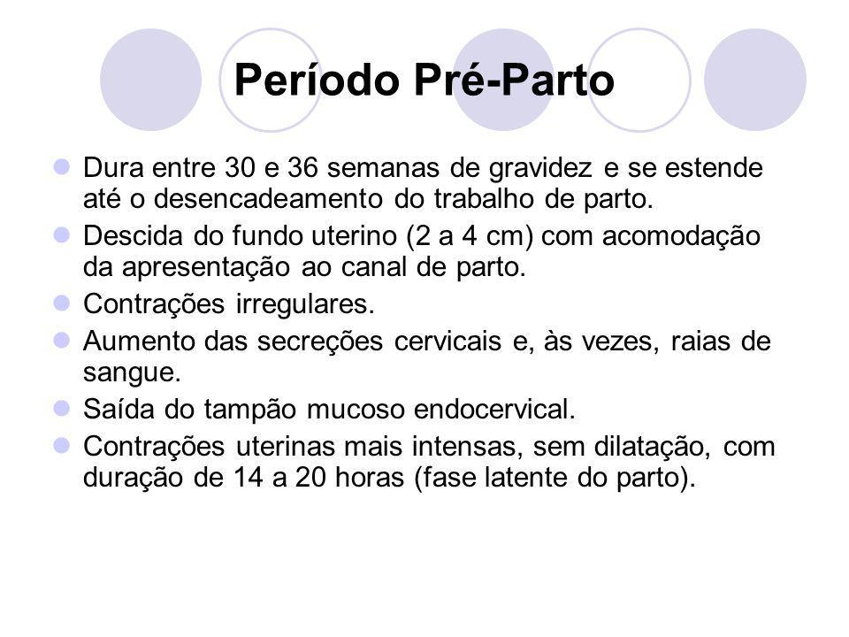 Período Pré-Parto Dura entre 30 e 36 semanas de gravidez e se estende até o desencadeamento do trabalho de parto.