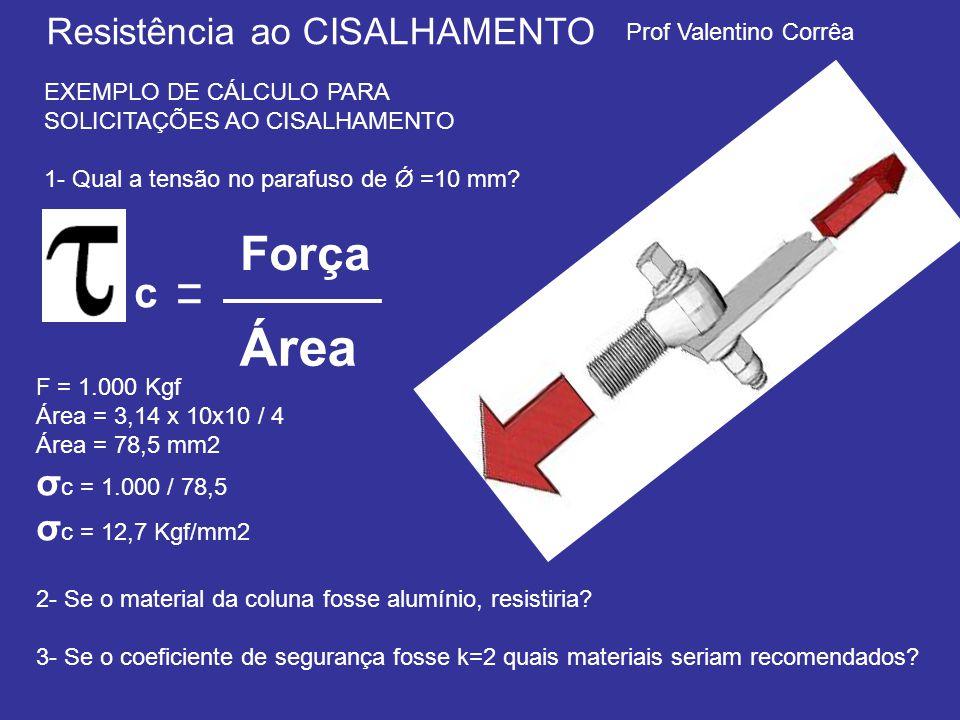 Área Força σc = 1.000 / 78,5 σc = 12,7 Kgf/mm2
