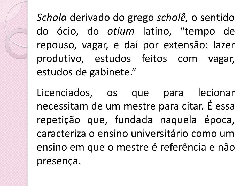 Schola derivado do grego scholê, o sentido do ócio, do otium latino, tempo de repouso, vagar, e daí por extensão: lazer produtivo, estudos feitos com vagar, estudos de gabinete.