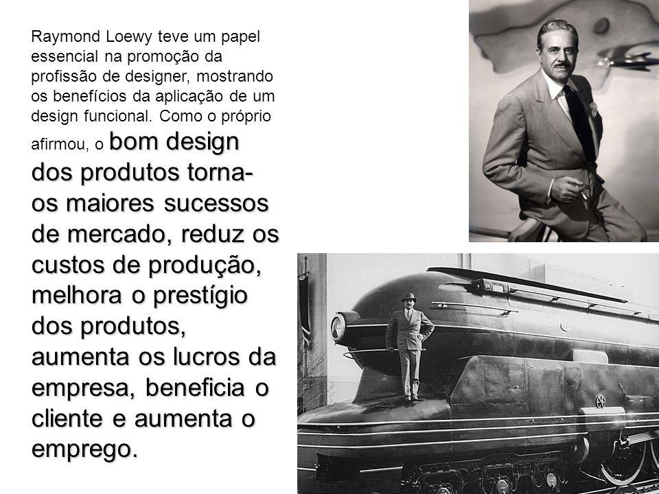 Raymond Loewy teve um papel essencial na promoção da profissão de designer, mostrando os benefícios da aplicação de um design funcional.